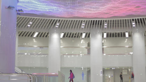 Colorful lighting at Songshan MRT in Taipei Live Action