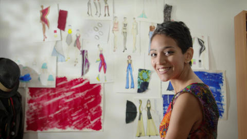 Portrait Of Hispanic Girl Working As Fashion Designer in Studio Footage