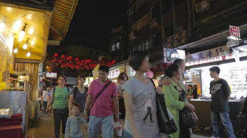 people walking Raohe night market Live Action