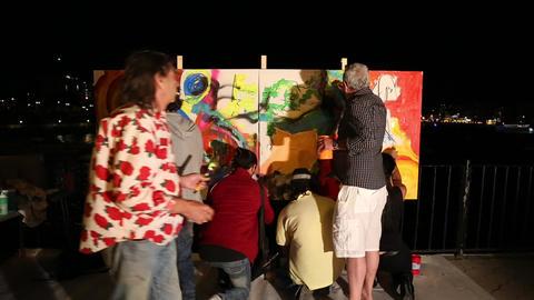 Painting on the street art festival in Malta Footage