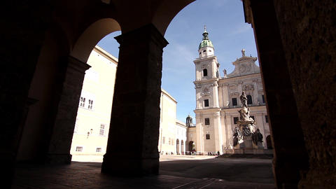 People visiting the cathedral of Salzburg Footage