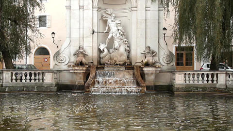 The fountain in Salzburg Footage