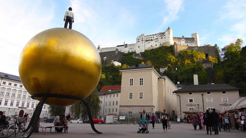 People visiting the Kapitalsquare in Salzburg Footage