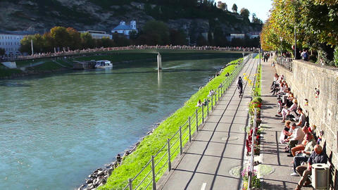 River Salzach flowing through Salzburg Footage