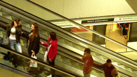 Escalator In The Tube Station In Budapest stock footage