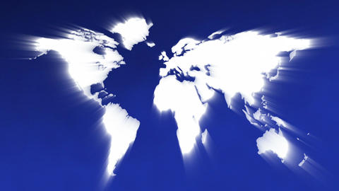 World Map In Light Rays Loop Animation