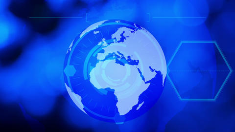 Technology business blue globe background Stock Video Footage