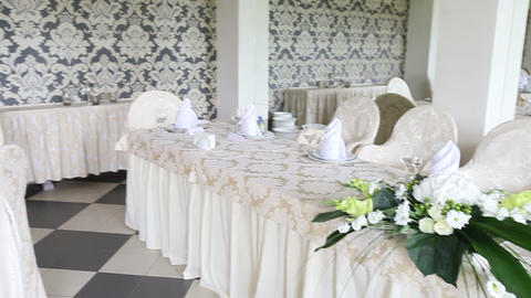 Wedding Hall With Tables Decorated With Flowers stock footage