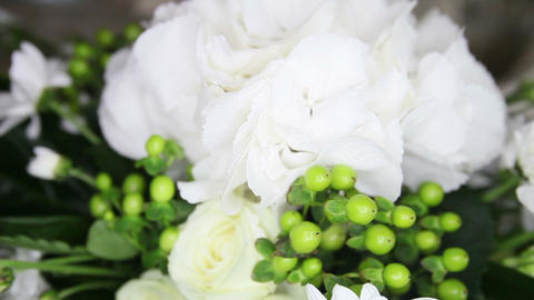 White Flowers On A Wedding Table stock footage