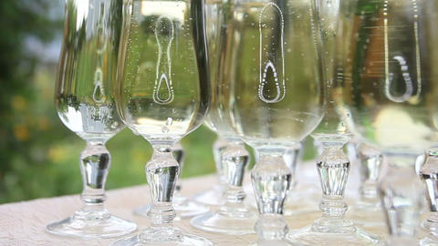 Glasses With Champagne stock footage