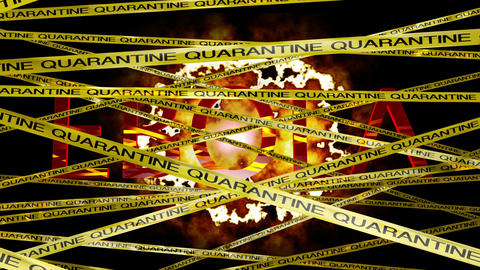 Ebola Virus Behind Quarantine Signs 3D Animation 2 Animation