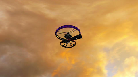 High Tech Telezoom Film Camera Drone in Action 3D  Animation