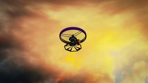 High Tech Wide Angle Film Camera Drone in Action 2 Animation