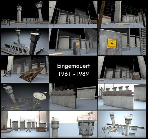 Berlin Wall 3D Model Package 3D Model