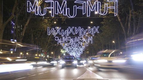 Barcelona Christmas Street Lights Decorations And  stock footage