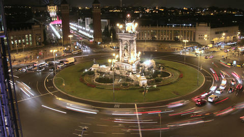 City Square Life Traffic Time Lapse At Night 4k stock footage