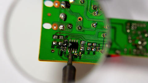 Soldering a circuit board Footage