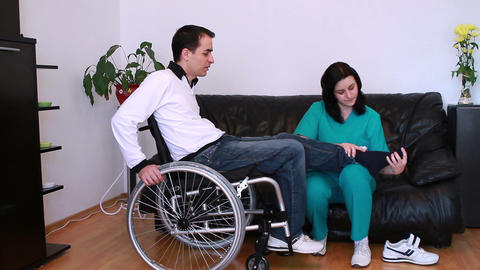 Physical Therapist Working With Patient stock footage