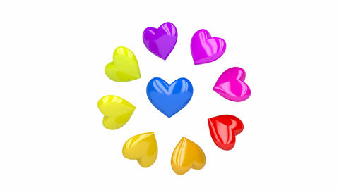 Colorful shiny hearts Animation