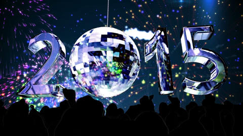 2015 with spinning disco ball Animation