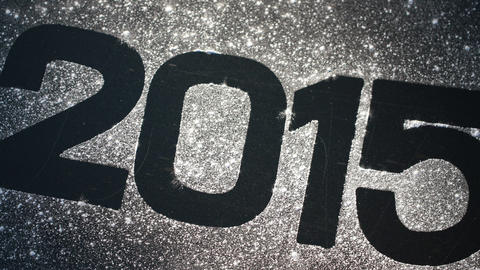 2015 In Glitter On Black Surface stock footage
