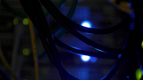 Blue Light In Server Close Up stock footage