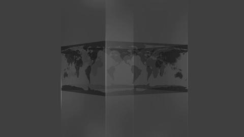 Transparent block showing world map on grey background Animation