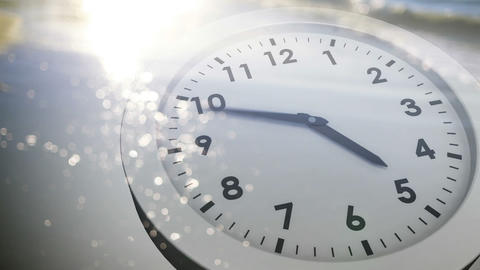 Clock ticking over sea animation Animation