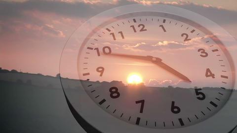Clock ticking over sun setting Animation