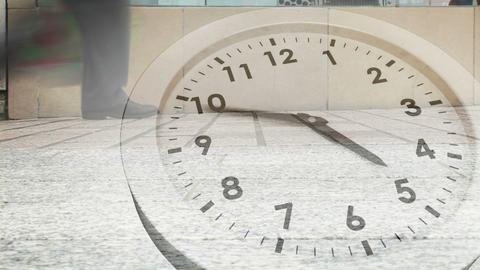 Clock ticking against busy street Animation