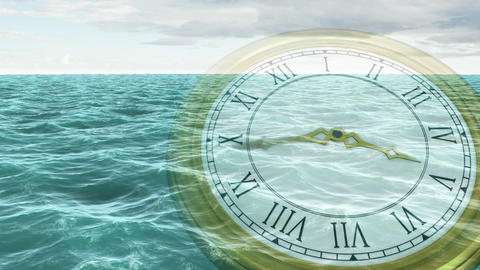 Clock Ticking Against Ocean Animation stock footage