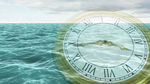 Clock ticking against ocean animation Animation