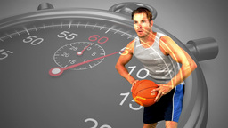 Stopwatch graphic over basketball player in slow motion Animation