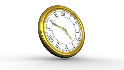 Golden roman numeral clock ticking Animation