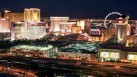Las Vegas Skyline Panning Night Time Lapse stock footage