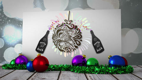 New years graphic on poster with decorations Animation