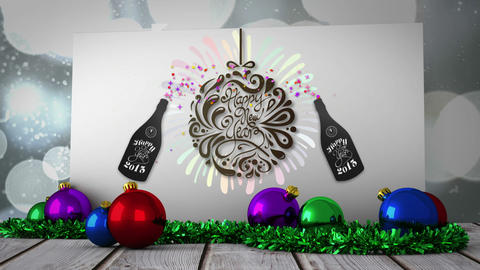 New years graphic on poster with decorations Stock Video Footage