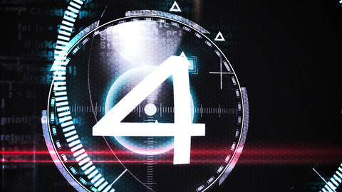 Countdown from ten to one in technology style Animation