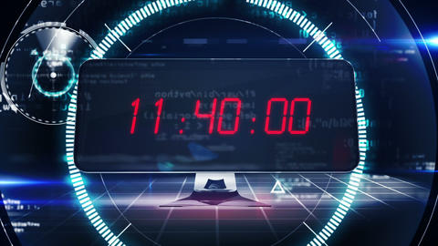 Countdown to 0 on computer screen in tech style Animation