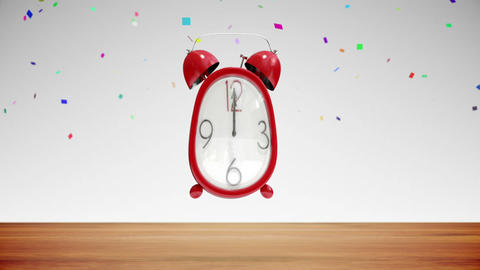 Cute alarm clock counting to midnight with confetti Animation