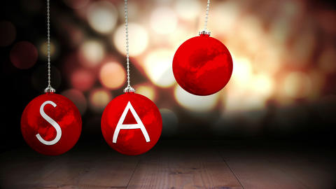 Hanging baubles spelling out sale Animation