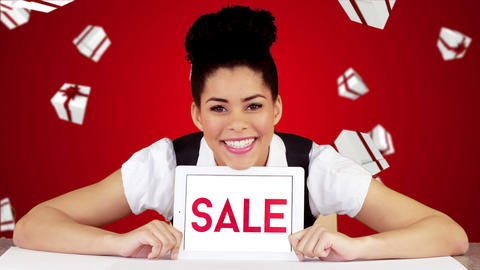 Pretty woman showing tablet with sale on screen Animation