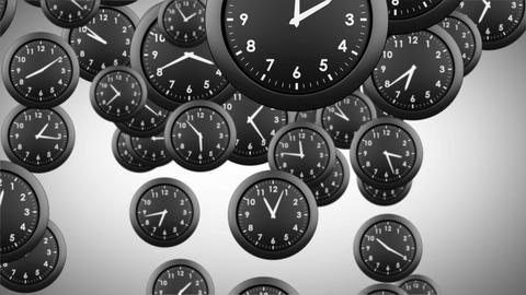 Falling clocks on grey background Animation