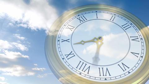 Roman numeral clock over blue sky Animation
