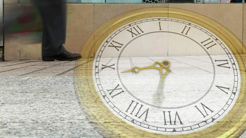 Roman numeral clock over busy street Animation