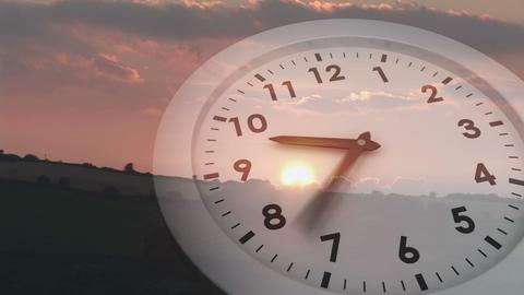 Ticking clock over sunset Animation