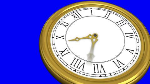 Ticking clock on blue background Animation