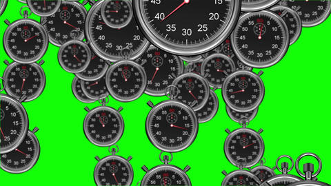 Stopwatches falling on green background Animation