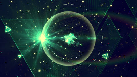 Space travel with geometry and lights Animation