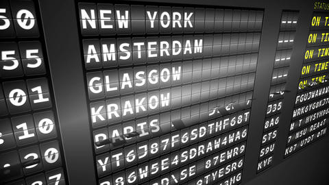 Black arrivals board showing on time flights Animation